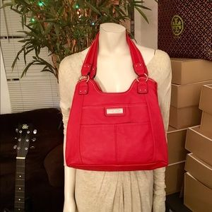 Tyler Rodan Bright Red Triple Compartment Tote Bag